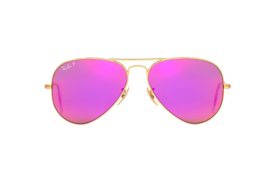 Ray-Ban RB3025 58 ORIGINAL AVIATOR 58 Pink & Gold Matte Polarized Sunglasses | Sunglass Hut USA